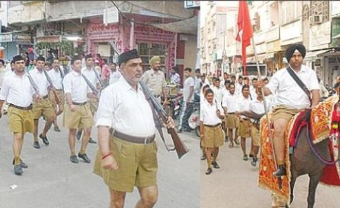 RSS-activists-March-in-Barnala-Punjab